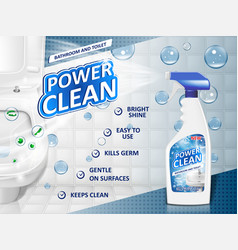 Bathroom cleaners ad poster spray bottle mockup vector