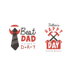 best dad labels set happy fathers day black vector image