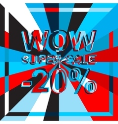 Big ice sale poster with WOW SUPER SALE MINUS 20 vector