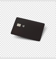 black credit card blank realistic template for vector image