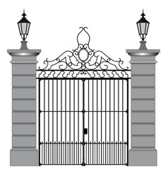 Black iron gate vector