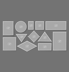 blank post stamp perforated postage sticker set vector image