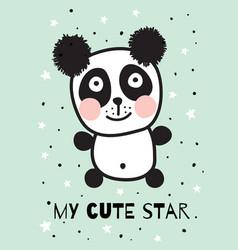 blue panda vector image
