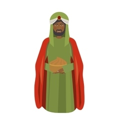 brunette wise man melchor kneel down vector image