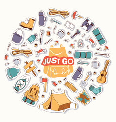 camping stickers survival exploration just go vector image