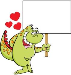 Cartoon bashful dinosaur holding a sign vector image