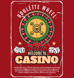 casino poker wheel roulette gambling game vector image