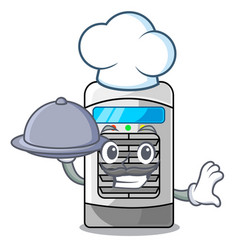 Chef with food air cooler isolated with the vector