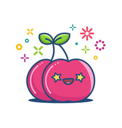 Cherry kawaii emoticon cartoon vector