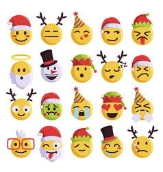 christmas emoji funny and cute holiday set vector image