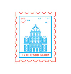 Church of santa engrccia postage stamp blue and vector