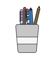 Colorful school utensils inside cup tool design vector
