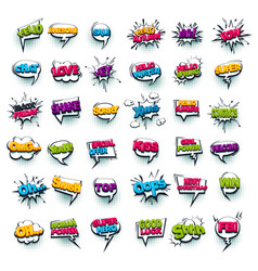 comic text collection sound effects pop art style vector image