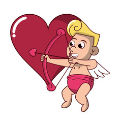 Cupid with arch on heart vector