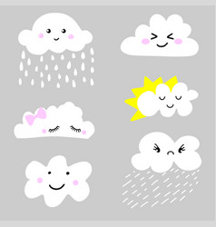 Cute and adorable cartoon weather clouds icon set vector