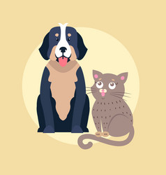 Cute dog and cat cartoon flat icon vector