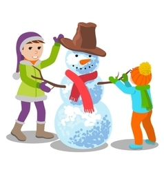 cute kids making a snowman vector image