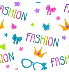 Cute seamless pattern with fashion lettering vector