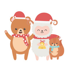 cute sheep bear and squirrel with scarf bell merry vector image