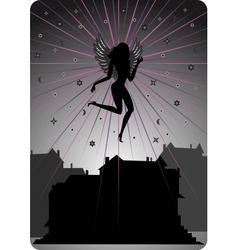Dark angel soaring over houses vector