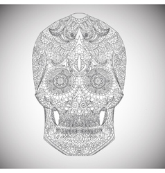 Day of the dead hand drawn skull ornamentrd vector