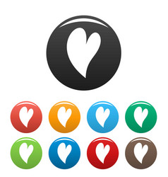 Deaf heart icons set color vector