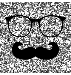 Doodle pattern with black and eyeglasses image for vector