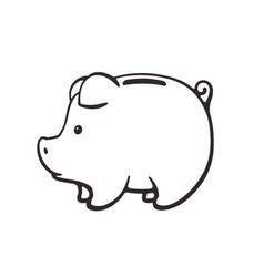 doodle piggy bank for cash money in side view vector image