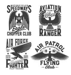Eagle t-shirt print aviation races fight club vector