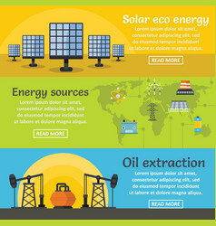Energy sources banner horizontal set flat style vector