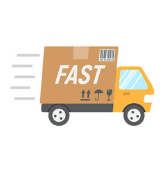 Fast shipping flat icon delivery truck vector