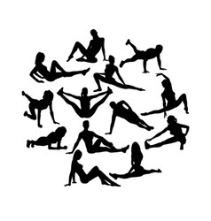 Fitness gym silhouettes vector