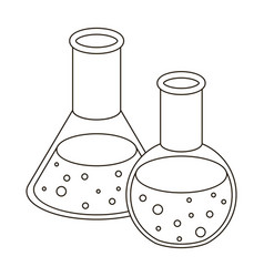 Flasks with reagents chemistry in school vector
