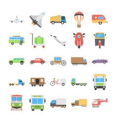 Flat icons set of transport vector