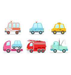 flat set of various vehicles ambulance vector image
