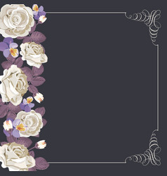 Flora card template with white roses and square vector
