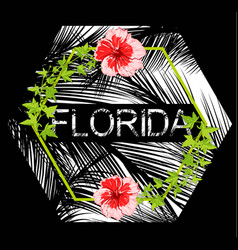 florida flowers poster with black background vector image