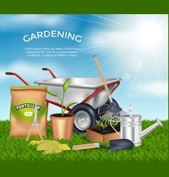 Gardening Tools Design Concept Set vector image vector image
