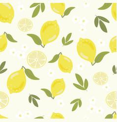 hand draw style yellow lemon seamless pattern vector image
