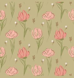 Hand drawn big tulips on green seamless background vector