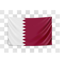 hanging flag qatar state qatar national vector image