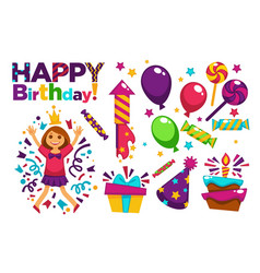 happy birthday greeting card or postcard gift vector image