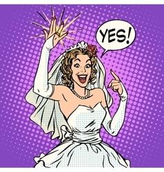 Happy bride with a wedding ring vector