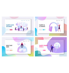 Health safety environment website landing page set vector