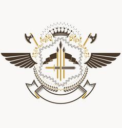 Heraldic coat arms decorative emblem with bird vector