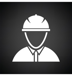 Icon of construction worker head in helmet vector