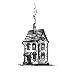 ink sketch old stone house vector image