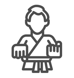 karate teacher line icon self defense concept vector image