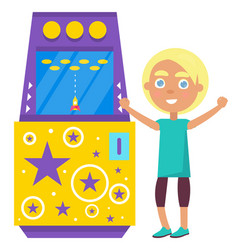 kid playing on game machine shooting in space vector image