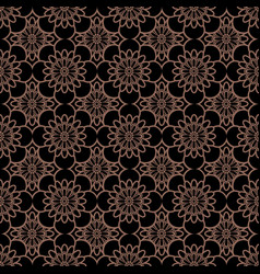 Korean traditional dark brown flower pattern vector